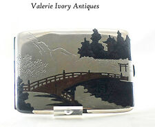 Vintage Japanese Mixed Metal  Sterling Silver Cigarette Case – Bridge Scene