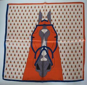 Silk Bandana Scarf Orange Horse 100% Silk, 50x50cm