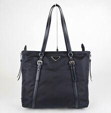 Prada Marineblau Nylon und Leder Tragetasche Tasche mit Seite Reißverschluss