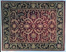 Thick 9x12 Burgundy Traditional Handmade Rug New Indian Jaipur Carpet