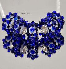 1 blue UFO blobs glass charm bracelet bead European murano Pugster funky fun