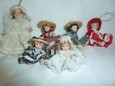 """Lot 6~Unbranded Porcelain Girl Dolls~5"""", 3.5"""", & 2.5""""~Movable Head, Legs, Arms"""