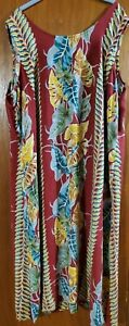 Hawaiian Sleeveless Maxi 2X Plus Size Made in Hawaii Floral Dress Lightweight