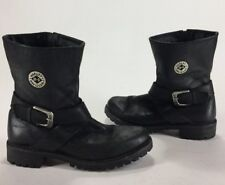 Womens Harley Davidson Shelly Welt Side Zip Motorcycle Boots Black Leather 8