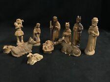Presepe Natività 11 Statuine Legno Ulivo Natale Gesù Bambino no gesso cartapesta