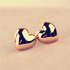 Women Cute Heart Earings Wedding Party Charm Love Gold Plated Stud Earrings *