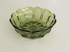 "Anchor Hocking Glass Avocado Green Fairfield 5"" Individual Salad Bowl Vintage"