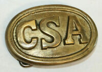 Antique Style Military Civil War Confederate CSA Belt Buckle Oval SOLID Brass