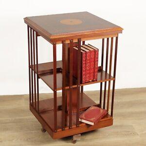 Libreria girevole stile antico vittoriano inglese in legno reggilibri tavolo