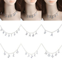 Stainless Steel Chain Necklace Punk Choker Letter Pendant Collar Jewelry