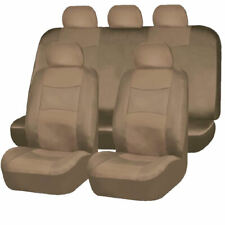 9PC SOLID beige / tan PU SYNTHETIC LEATHER SEAT COVERS SET for SUVS 1658