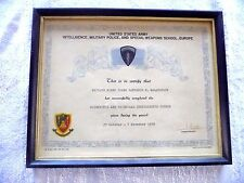 CERTIFICATE US ARMY INTELLIGENCE MILITARY POLICE SPECIAL WEAPONS EUROPE 1958