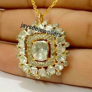 Real Polki Diamond Handmade Women Jewelry Victorian 925 Sterling Silver Pendant