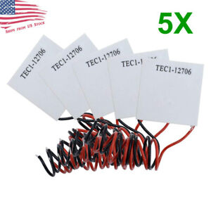 5 PCS TEC1-12706 12V 60W Thermoelectric Cooler TEC Peltier Plate Module 5X US