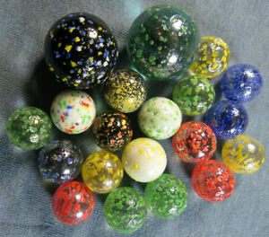20 Confetti Speckled Glass Marbles - .58 to .99 inches