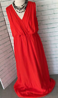 TED BAKER Red 100% Silk Maxi Dress Sz 5 / UK 16 Long Party Special Occasion