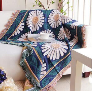 Stylish Cotton Flower Sofa Cover Chair Cover Throw  Blanket  Bed Sheet Tassels