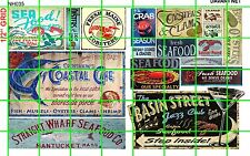 NH035 DAVE'S DECALS 1/2 Set N SCALE ASSORTED SEAFOOD CAFE RESTAURANT SIGNAGE