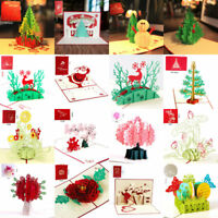 3D Handmade Pop Up Greeting Cards Christmas Birthday Valentine Day Gift Wedding