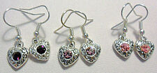 Earrings silver hearts with crystal - choose colour
