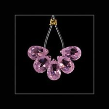 10x Cubic Zirconia Flat Pear Briolette Beads 4x6mm Pink #64839