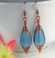 SEA GLASS Teardrop Caribbean Blue Weave Wire COPPER Dangle Earrings USA HANDMADE