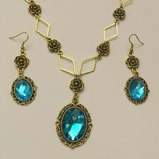VICTORIAN STYLE - DIAMOND ROSE - MID TURQUOISE CRYSTAL GOLD PLATED NECKLACE SET