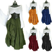 Medieval Renaissance Women Flare Sleeve Lace up Dress Party Cosplay Costume