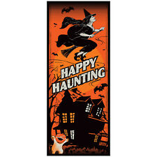 HALLOWEEN HAPPY HAUNTING DOOR COVER PARTY DECORATION POSTER WITCH HAUNTED HOUSE