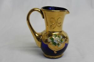 Small Cobalt Blue Creamer with Gold Paint Trim & Flowers