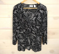 Chico's Travelers Sz 3 XL Slinky Knit Top Black Gray Floral Print Faux Wrap CL