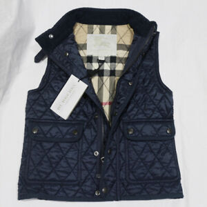 NWT BURBERRY Boys' Diamond Haymarket Quilted Vest Navy Small 7 Youth NEW