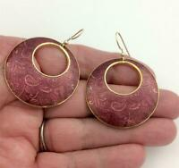 Vintage Isle of Skye Gold Tone Dusky Pink Pattern Enamel Dangle Hoop Earrings