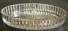"""Vintage Heisey Ridgeleigh Divided Oval Crystal Bowl 7.25"""" x 3.5"""" x 1.2.5"""" Excell"""