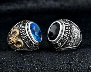 Mens Satanic Illuminati Masonic Black Onyx Blue Stone Ring Stainless Steel Size