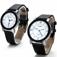 Mens Womens Black Leather Band Quartz Analog Casual Roman Numerals Wrist Watch