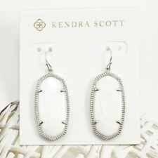 NWT Kendra Scott Elle White Pearl Drop earring Silver Tone