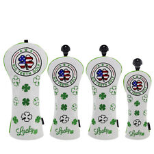 Golf Club Head Covers Lucky Clover 3D Embroidery Driver/Fairway/Hybrid Cover Set