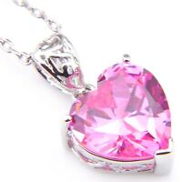 Love Heart Sweet Pink Topaz Gemstone Silver Woman Necklace Pendants New