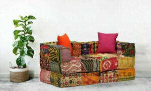 Indian Handmade Vintage Sofa kantha Patchwork Floor Sofa Bohemian 2 Seat Sofaset
