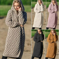 Coat Thick Cardigan Knitted Hooded Sweater Women's Outwear Long Sleeve Fashion