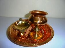 Hindu Puja Copper LotaThali Om Plate Prayer Brass Diya Agarbati Stand Puja Aarti