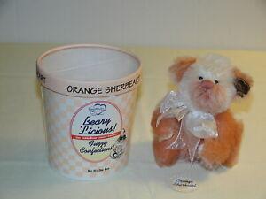 "Vintage Annette Funicello Orange Sherbeart Beary Licious Ice Cream Bear 5"" wTags"
