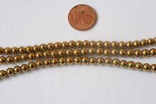 Hämatit(galvanisiert)-Strang-3 St.(Kugel,4,5 mm,Goldfarbe) K-0886/K