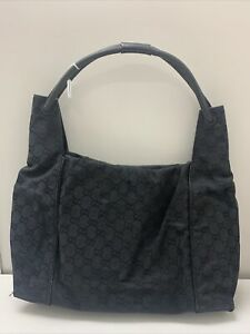 Authentic vintage Gucci GG canvas black leather monogram shoulder tote hand bag