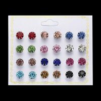 Charm 12Pair Earrings Colorful Rhinestone Crystal Ear Stud Earring Set Jewelry