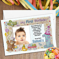 10 Personalised Boys Girls First 1st Birthday Party PHOTO Invitations