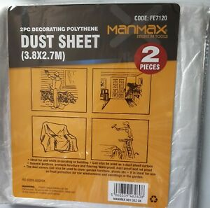 MANMAX 2PC DECORATING POLYTHENE DUST SHEET (3.8 x 2.7M)