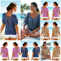 Summer Women Loose Blouse Short Sleeve Lace Crochet V-neck T Shiirt Casual Tops