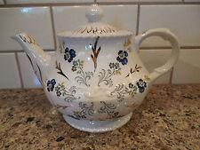 Vintage Ellgreave Teapot Made in England Blue Floral Gold Tea Pot (Wood & Sons)